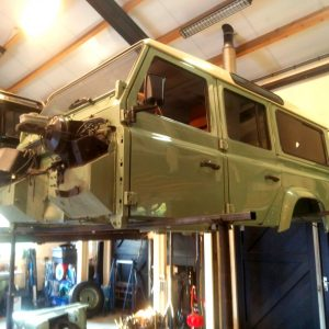 1983 LR LHD Defender 110 V8 body in the air