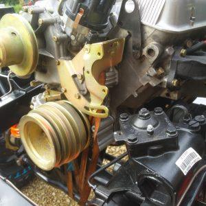 1983 LR LHD Defender 110 V8 rolling frame engine pulley and Bowler steering box