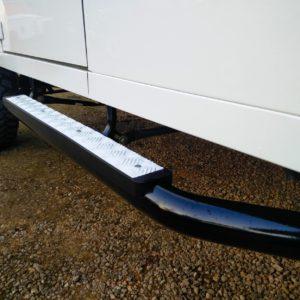 1983 Land Rover Defender 110 LHD Soft Top C gloss black side steps
