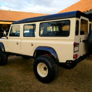 1985 Defender 110 LHD Ivory day 30 left rear