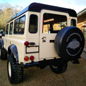 1985 Defender 110 LHD Ivory day 30 rear