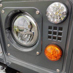 1990 LR LHD D90 V8 AC Heritage Grey AA close front LEDS