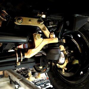 1990 LR LHD D90 V8 AC Heritage Grey day 8 front suspension left