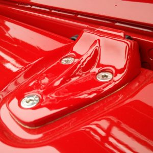 1992 LR LHD Defender 90 Red 200 Tdi A day 15 bonnet hinge