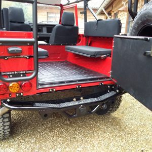 1992 LR LHD Defender 90 Red 200 Tdi A day 15 rear hatch open