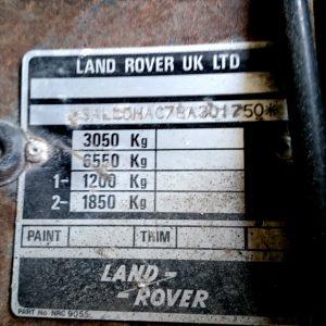 1987 LR 110 Tithonus RHD 2.5 NA Diesel vin plate