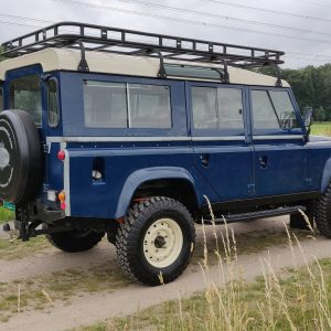 1983 LR LHD 110 ex CH Caledonian Blue B right rear