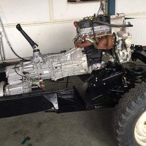 2008 LR LHD Defender 110 Tdci 5 dr building frame right front with engine