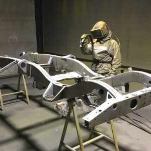 Blasted chassis being blasted