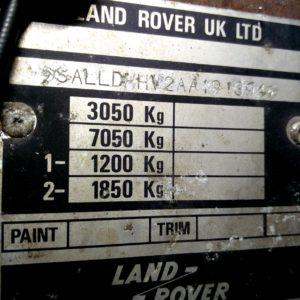 1984 LR LHD Defender 110 3.5V8 Camper VIN plate