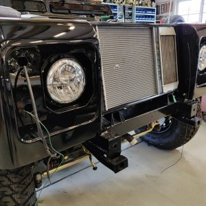 1991 LR LHD Defender 90 Tdi Black building day 21 Autobiography front lights installed