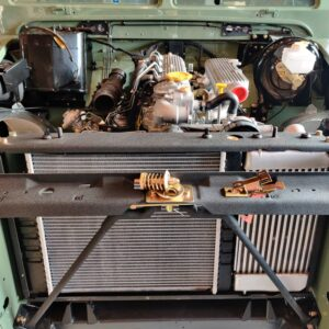 1994 LR LHD Defender 130 Beachrunner Pastel Green day 17 engine bay