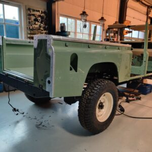 1994 LR LHD Defender 130 Beachrunner Pastel Green day 25 rear tub installed right rear