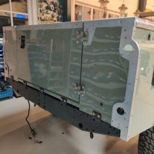 1994 LR LHD Defender 130 Beachrunner Pastel Green day 26 rear door installed