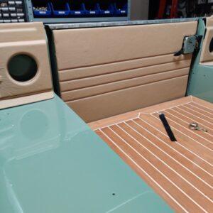 1994 LR LHD Defender 130 Beachrunner Pastel Green day 28 trial fit speaker panels and rear door card