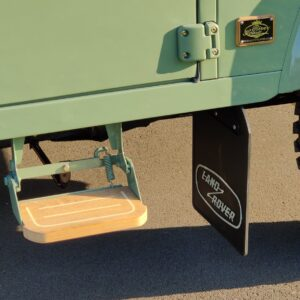 1994 LR LHD Defender 130 Beachrunner Pastel Green day 52 side step in teak with logo right