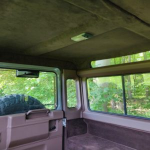 1994 LR LHD Defender 90 Nardo Grey A interior window surround and headliner