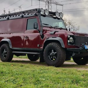 1995 LR LHD Defender 110 Montalcino Red right front low