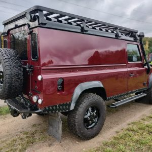 1995 LR LHD Defender 110 Montalcino Red right rear
