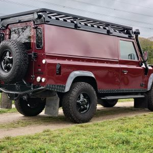 1995 LR LHD Defender 110 Montalcino Red right rear low