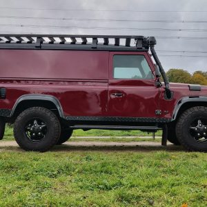 1995 LR LHD Defender 110 Montalcino Red right side low