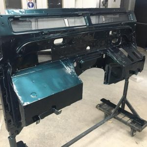 1995 LR LHD Defender 90 300 tdi painter bulkhead before final coat