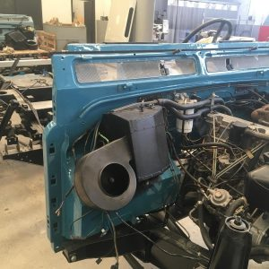 1992 LR LHD 110 Tuscan Blue 200 Tdi day 2 rolling frame and bulkhead front