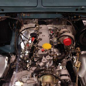 1992 LR LHD Defender 110 Tdi Riviera Blue B engine bay new engine installed