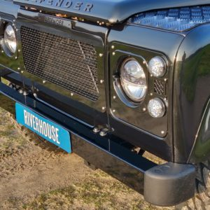 1992 LR LHD Defender 110 Santorini day EXT SS grill close