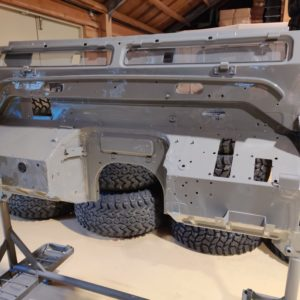 2003 LR LHD Defender 110 Td5 Soft Top Grey body in paint bulkhead done