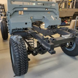 1987 Defender 90 200 Tdi Ron T building day 3 rolling frame plus bulkhead front