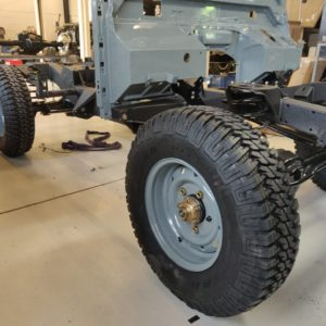 1987 Defender 90 200 Tdi Ron T building day 3 rolling frame plus bulkhead right front