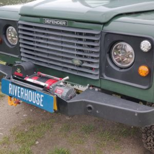 1995 LR LHD Defender 130 300 Tdi Conisten Green grill close and new Warrior winch