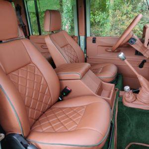 1994 LR LHD Defender 110 300 Tdi A Pastel Green interior front seats
