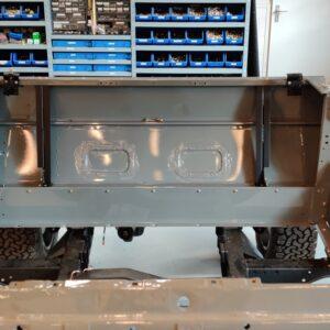 1993 LR LHD Defender 130 day 4 install rear firewall