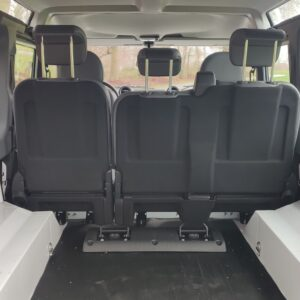 2014 LR LHD NEW Defender 110 White A trim loadfloor view rear seat