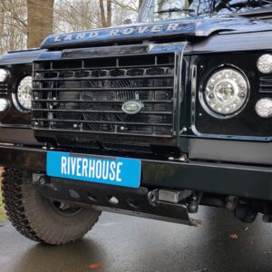 2010 LR LHD Defender 90 Orkney Grey Soft Top A Black hood grill close