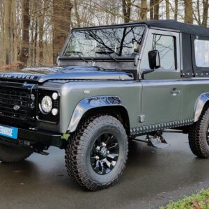 2010 LR LHD Defender 90 Orkney Grey Soft Top A Black hood left front