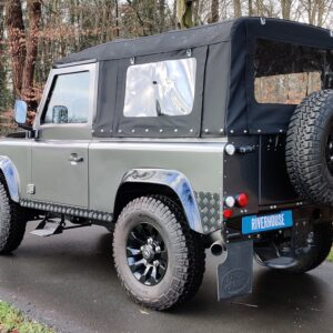 2010 LR LHD Defender 90 Orkney Grey Soft Top A Black hood left rear