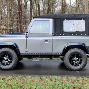 2010 LR LHD Defender 90 Orkney Grey Soft Top A Black hood left side