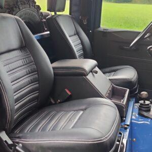 1991 LR LHD Defender 90 200 Tdi Electric Blue front seats
